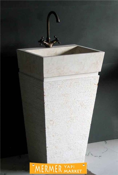 Dikey Traverten Lavabo