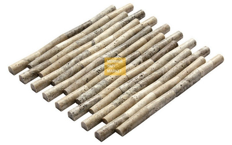 Silver Traverten Bambu Mozaik