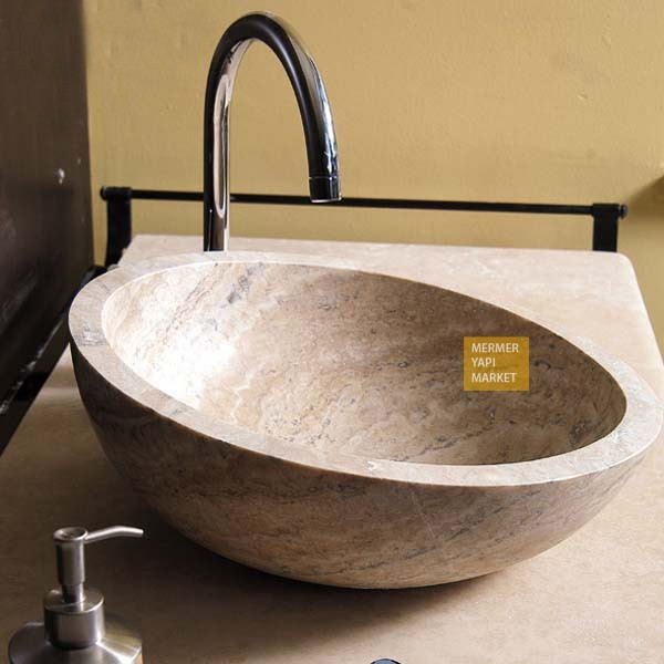 Silver Traverten Lavabo