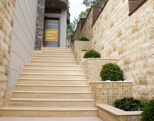 Klasik Traverten Merdiven - Basamak Rıht Dahil
