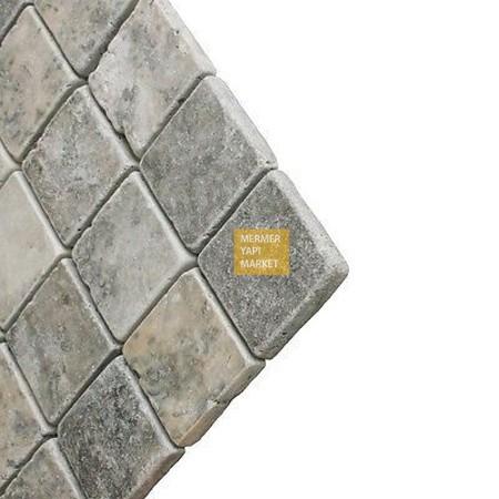 Eskitme Gümüş Traverten 10x10