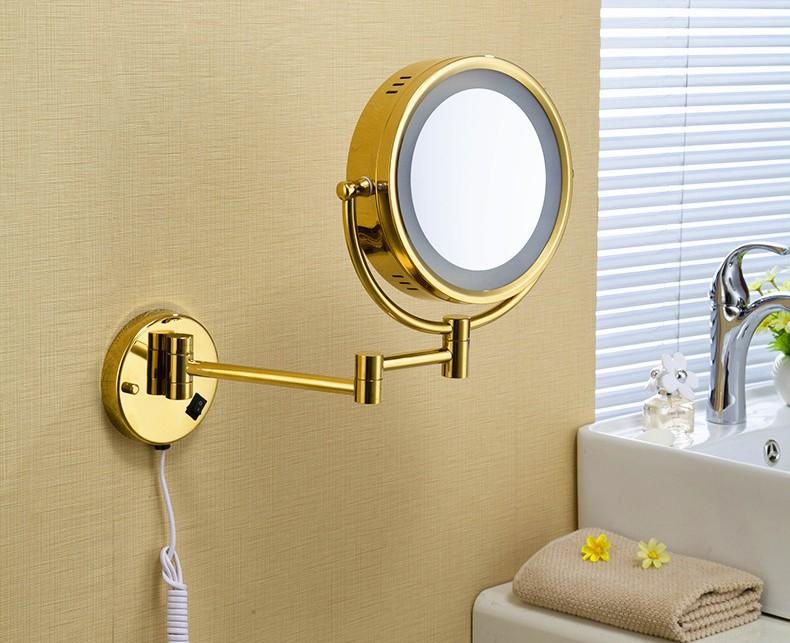 Altın Kaplama Büyüteçli Duvar Aynası