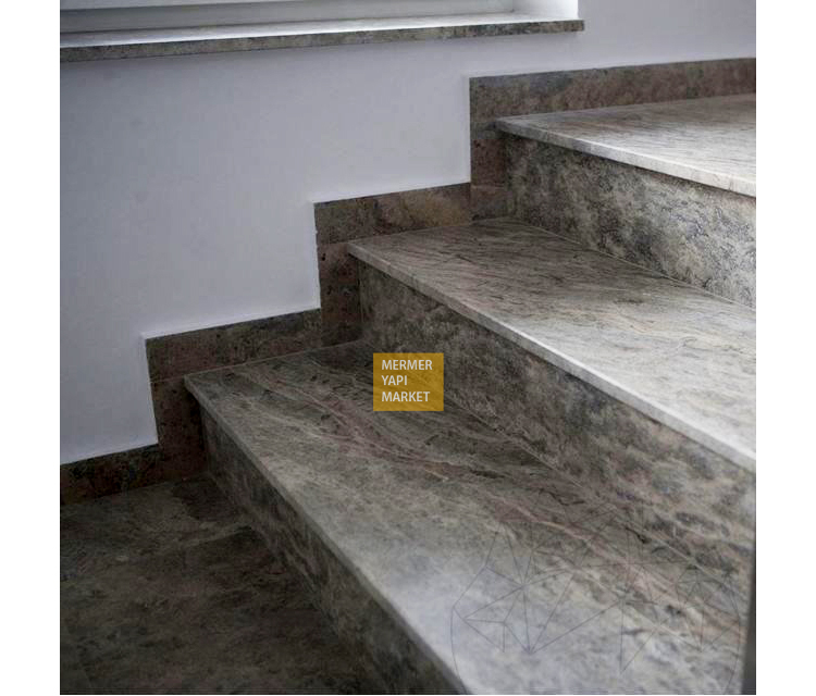 Gümüş Traverten Merdiven - Basamak Rıht Dahil